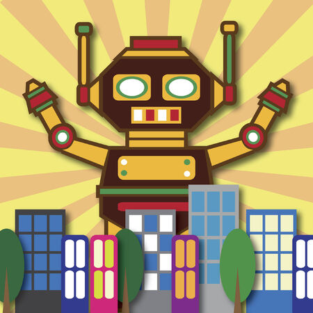 Illustration of a huge robot in the city