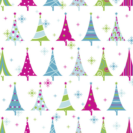 Illustrated christmas tree background design Vector
