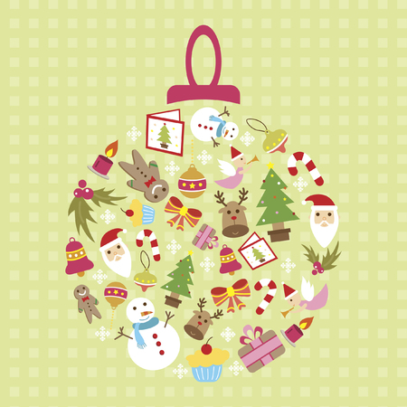 Illustration of an ornament consisting of christmas icons Vector