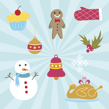 A set of christmas icons Vector