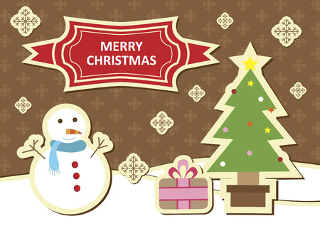 Illustration of a snowman and a christmas tree Vector