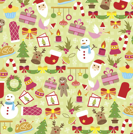 Illustrated christmas icons background design Vector