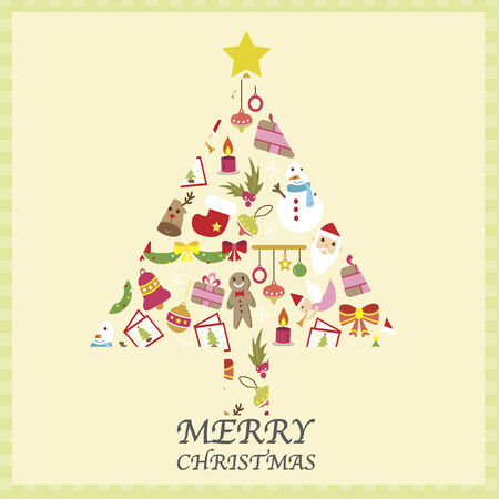 festive occasions: Illustration of a christmas tree consisting of christmas icons Illustration