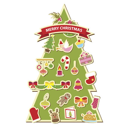 Illustration of a christmas tree decorated with christmas icons Vector