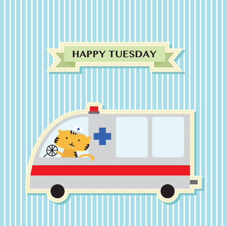Illustration of a tiger in an ambulance