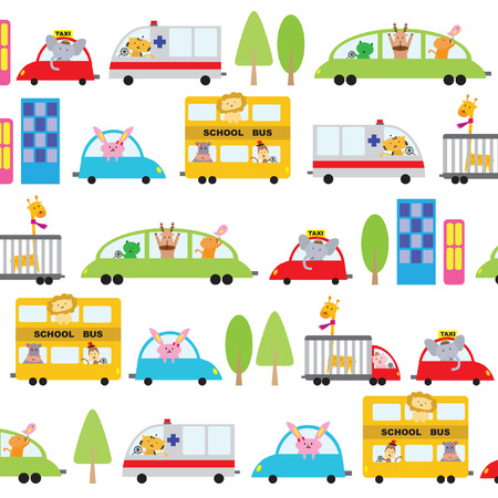 Illustrated cartoon vehicles background design Vector