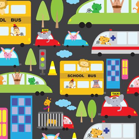 Illustrated cartoon vehicles background design Vector