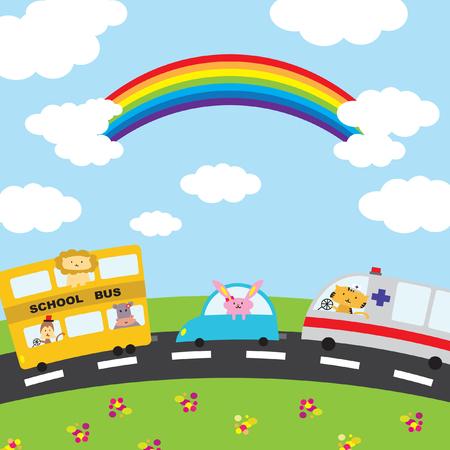 Illustration of cartoon vehicles on the road