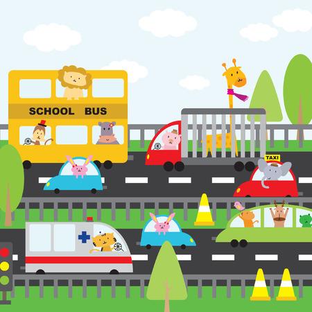 Illustration of cartoon vehicles on the road Vector