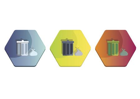Illustration set of dustbin and rubbish bag