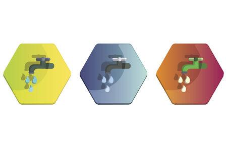 Illustration set of a faucet Ilustração