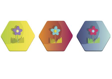 Illustration set of flowers Vettoriali