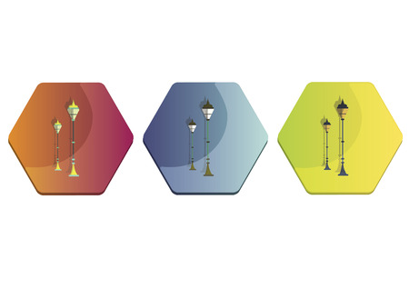 Illustration set of street lamps