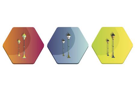 Illustration set of street lamps Фото со стока - 30974626