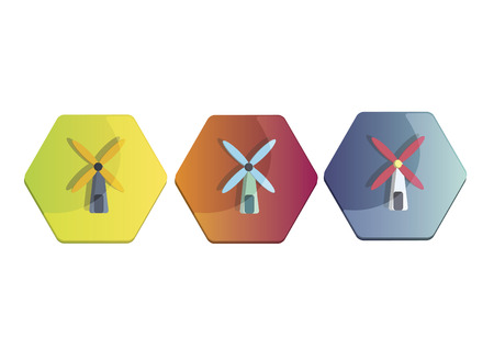 Illustration set of a windmill