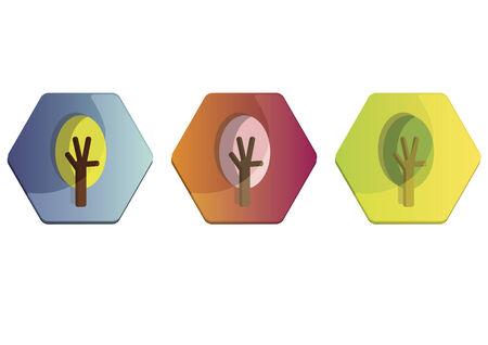 Illustration set of trees Фото со стока - 30974682