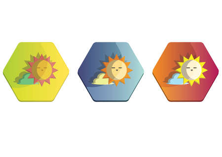Illustration set of a sun and cloud