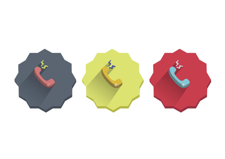 Illustration set of a telephone ringing