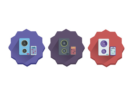 Illustration set of a stereo