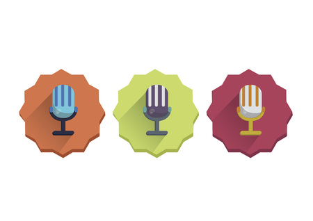 amplify: Illustration set of a microphone Illustration
