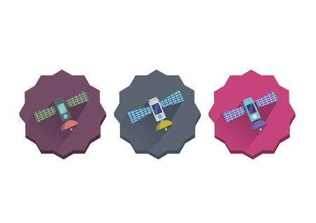 Illustratie set van een satelliet Stock Illustratie