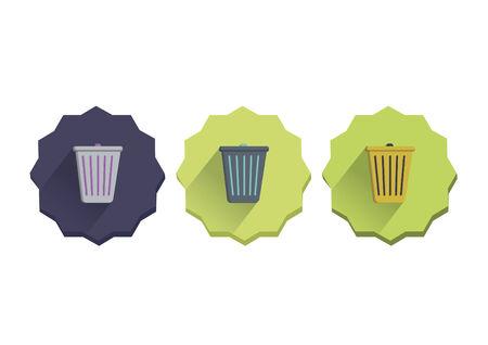 Illustration set of a trash can