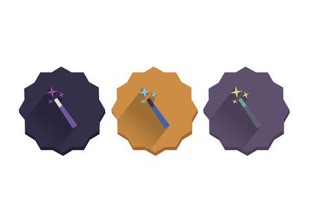 Illustration set of a magic wand Çizim