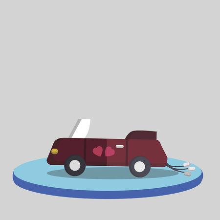 Illustration of a wedding car