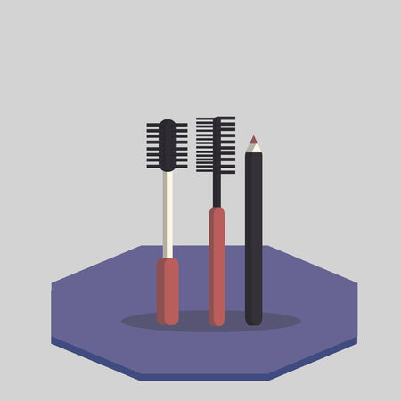 make up brush: Illustrazione di mascara e eyeliner