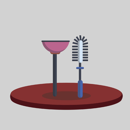 Illustration of a toilet plunger and brush