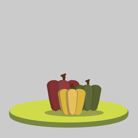 Illustration of green, yellow and red peppers Vector