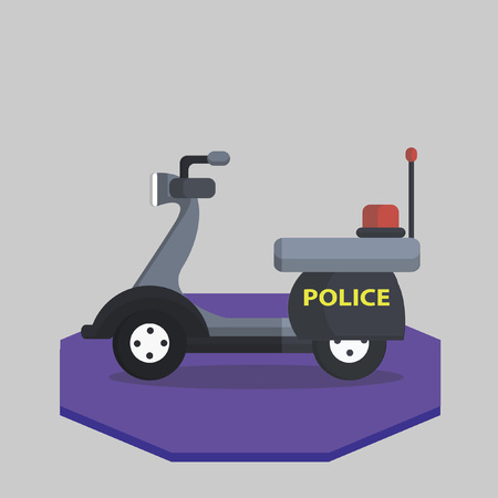 Illustration of a police scooter Vector