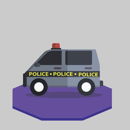 Illustration of a police van