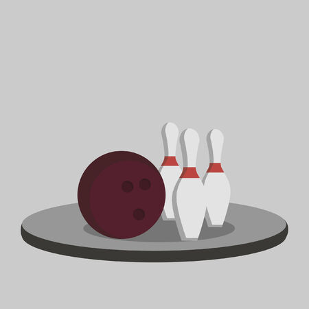 Illustration of a bowling ball and pins Vector