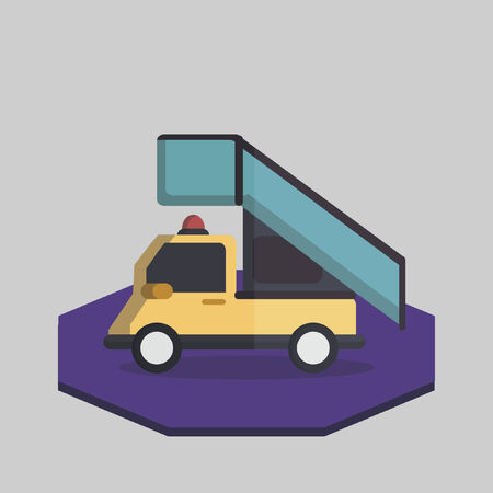Illustration of an airport stair truck Vector