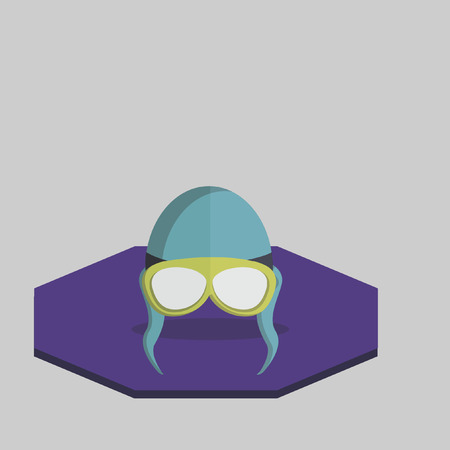 Illustration of flying helmet and goggles Vector