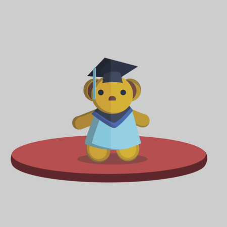 Illustration of or a teddy bear in a graduation outfit Vector