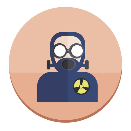 Illustration of a man in gas mask and radioactive suit