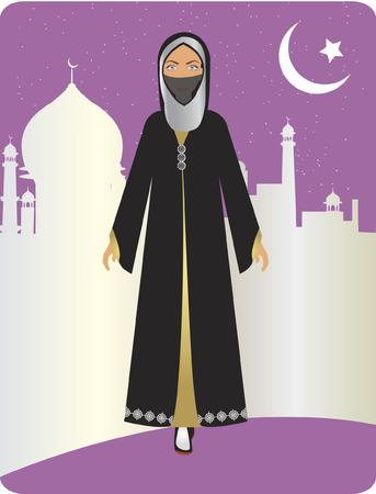 niqab: Woman dressed in traditional attire Illustration