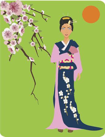 Japanese woman dressed in kimono standing beside cherry blossom tree