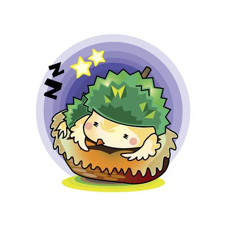 Illustration of a cartoon character sleeping Illustration