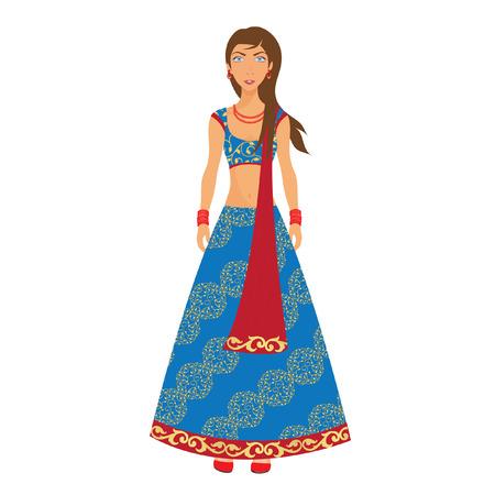 Woman dressed in sari Çizim