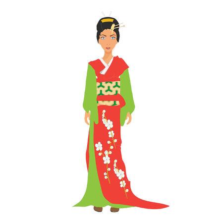 donna giapponese: Giapponese donna vestita di kimono Vettoriali