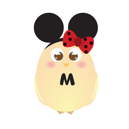 hairband: A chick wearing mouse ears and a ribbon