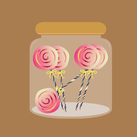 craving: Ilustraci�n de piruletas en un frasco Vectores