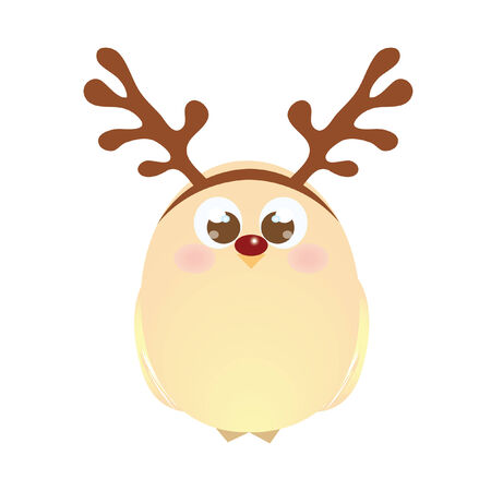 hairband: A chick wearing a reindeer antlers Illustration
