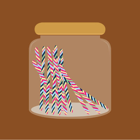 Illustration of sweets in a jar