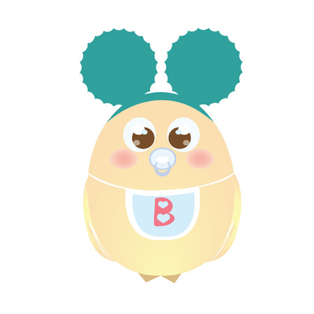 hairband: A chick wearing mouse ears and a bib