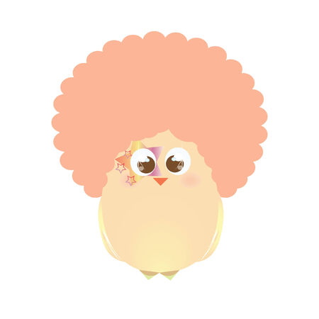 wig: A chick wearing an afro Illustration