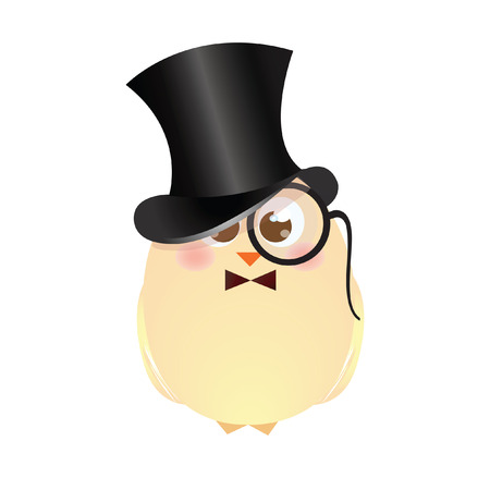 A chick wearing a top hat and an eye glass